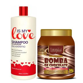 Kit-Forever-Liss-Mascara-Bomba-De-Chocolate-1Kg---Is-My-Love-Shampoo-Alisante
